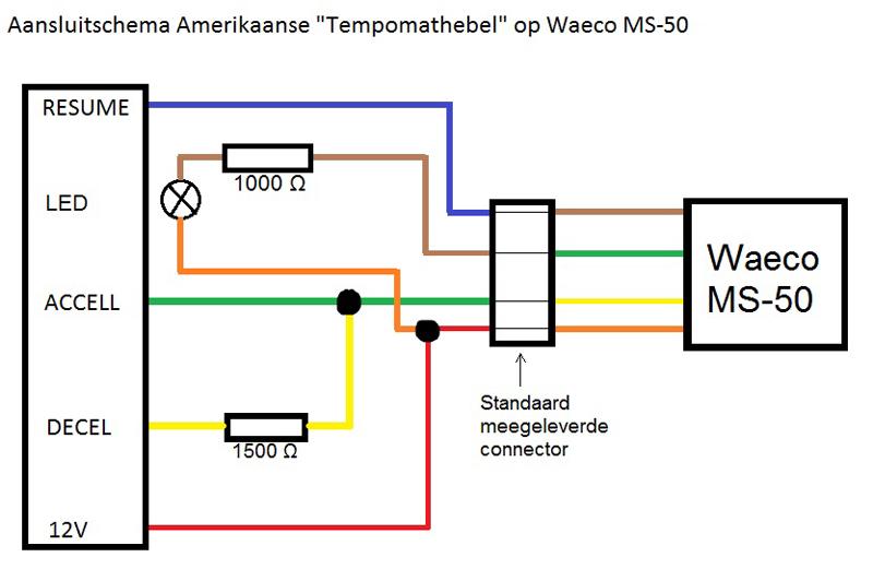 aansluitschema cruise control hendel op waeco ms50 techniek. Black Bedroom Furniture Sets. Home Design Ideas